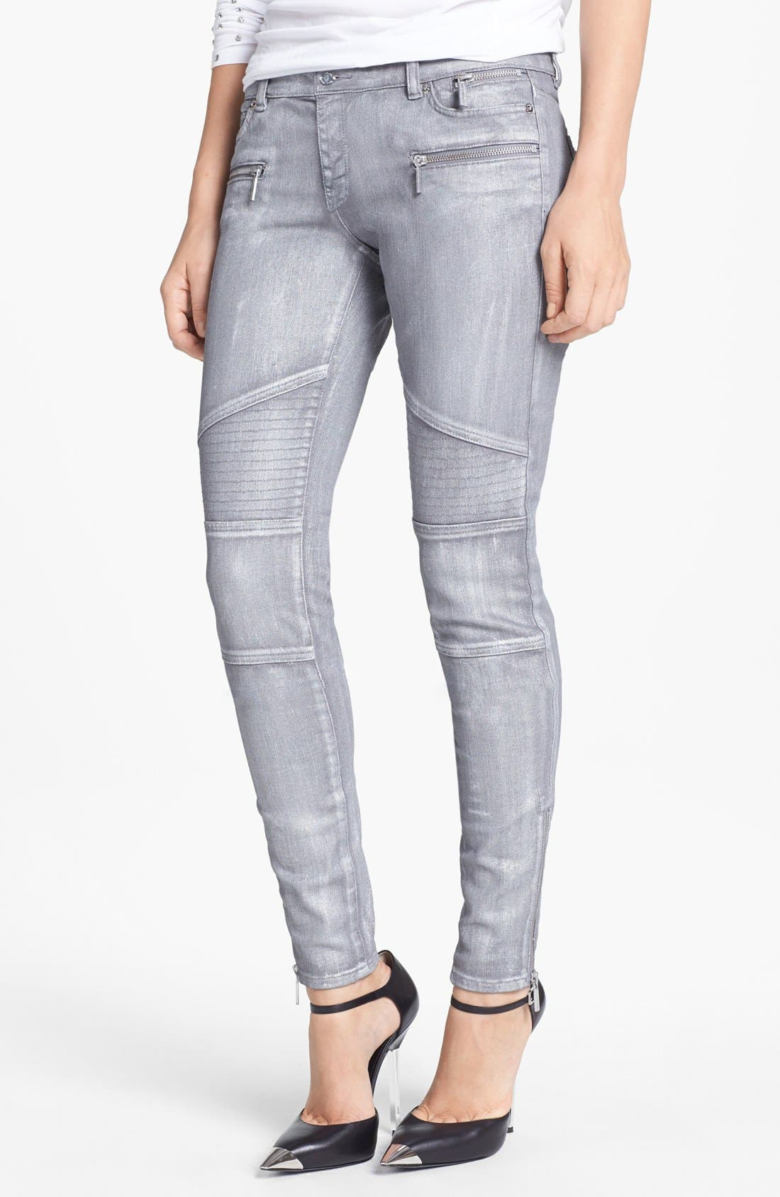 Main Image - MICHAEL Michael Jeans Moto Skinny Jeans (Silver)