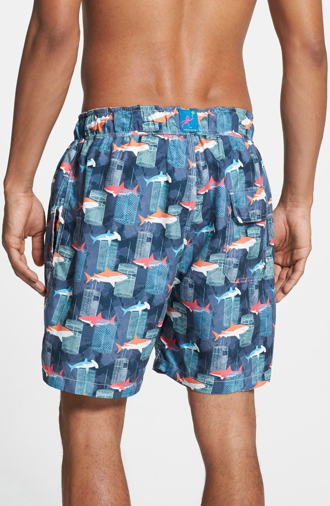 Alternate Image 2  - Michael's Swimwear 'Shark Tank' Swim Trunks
