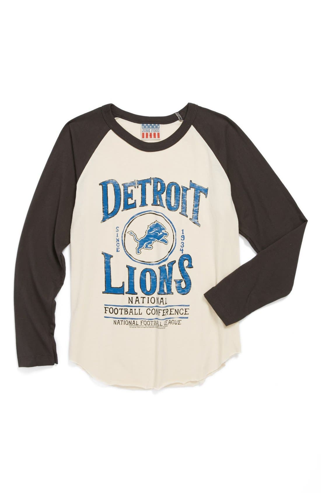 Alternate Image 1 Selected - Junk Food 'Detroit Lions' Raglan Long Sleeve T-Shirt (Toddler Boys)