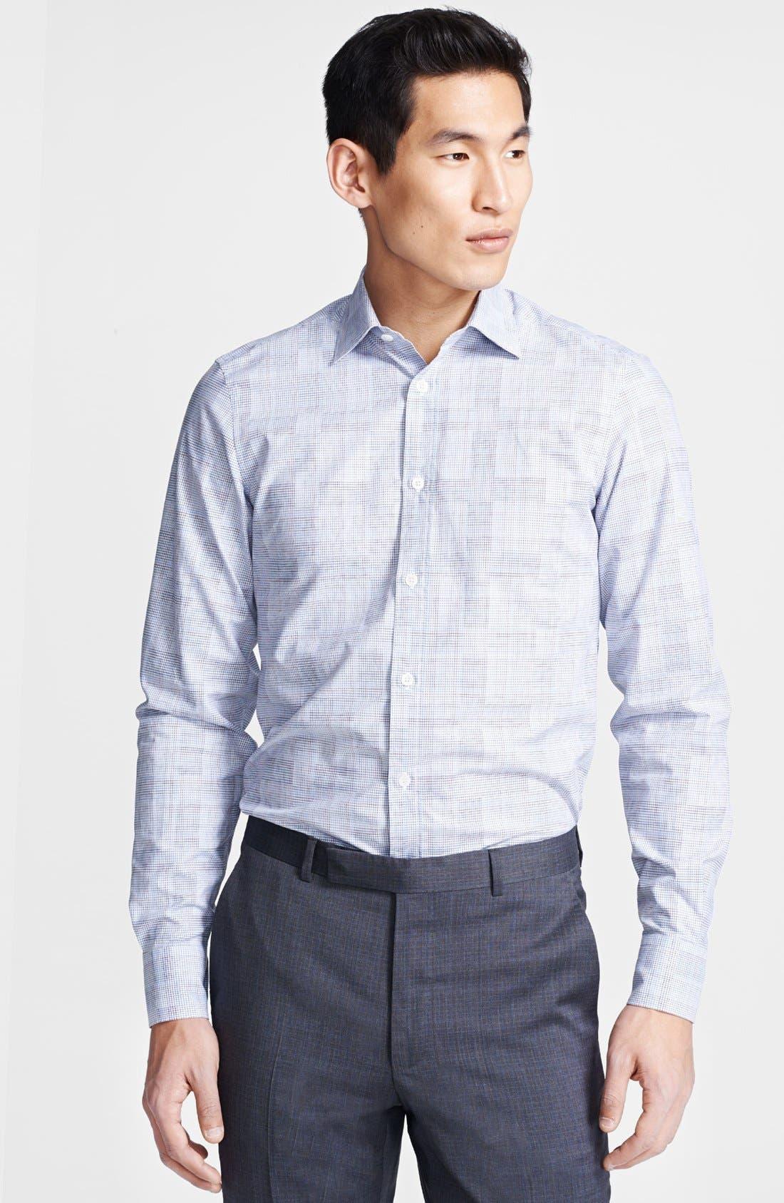 Alternate Image 1 Selected - Z Zegna Tonal Check Sport Shirt