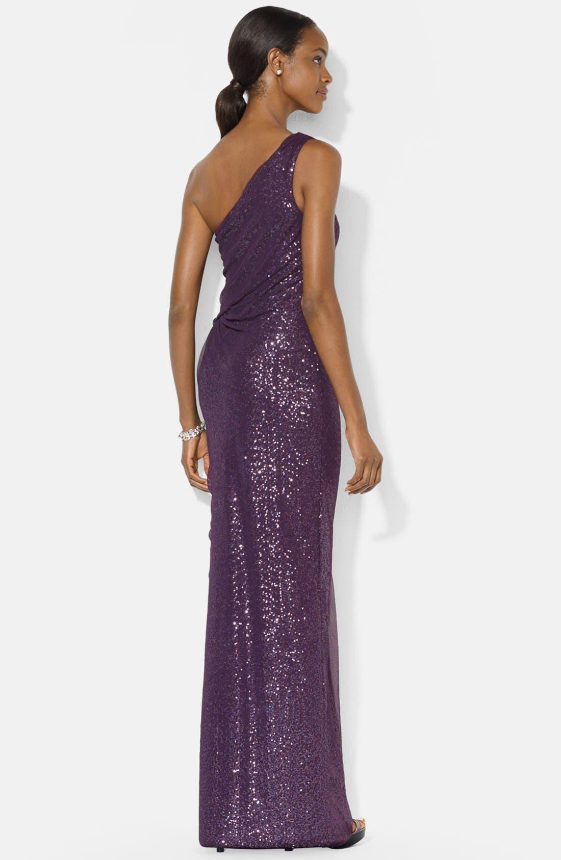 Alternate Image 2  - Lauren Ralph Lauren Mesh Overlay Sequin One-Shoulder Gown