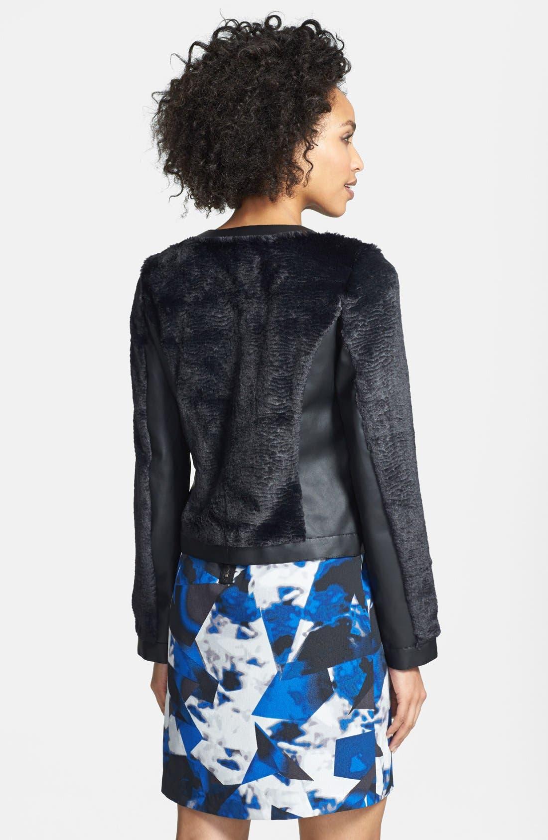 Alternate Image 2  - kensie Faux Fur & Faux Leather Collarless Jacket