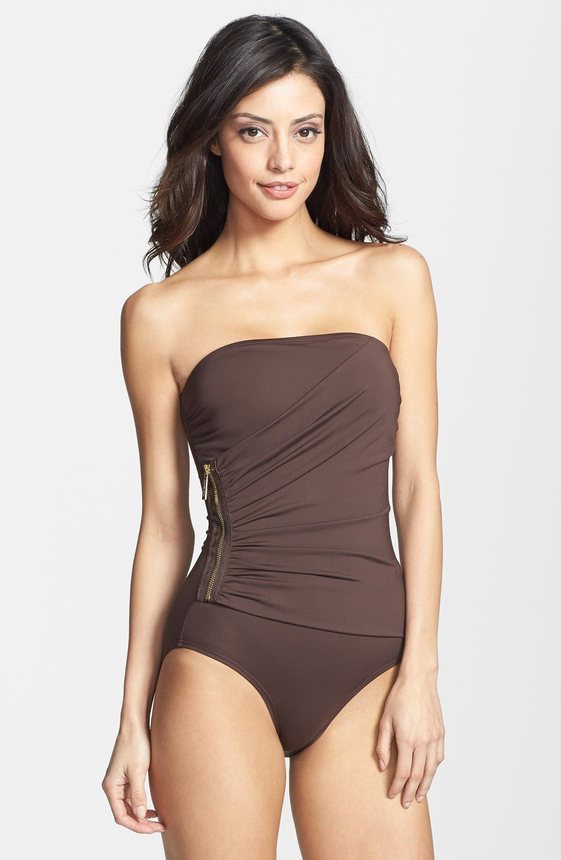 Main Image - MICHAEL Michael Kors 'Tunisia' Strapless Shirred Maillot
