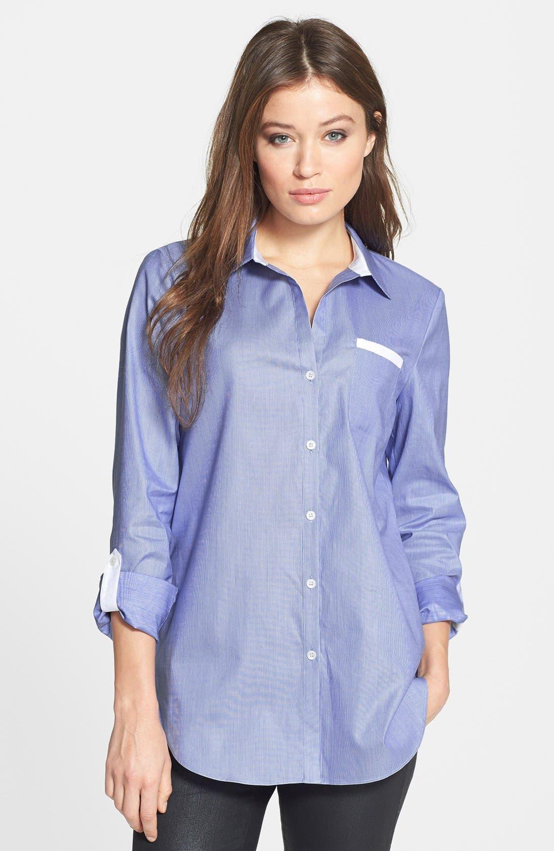 Main Image - Lafayette 148 New York 'Piano Stripe' Roll Sleeve Cotton Shirt