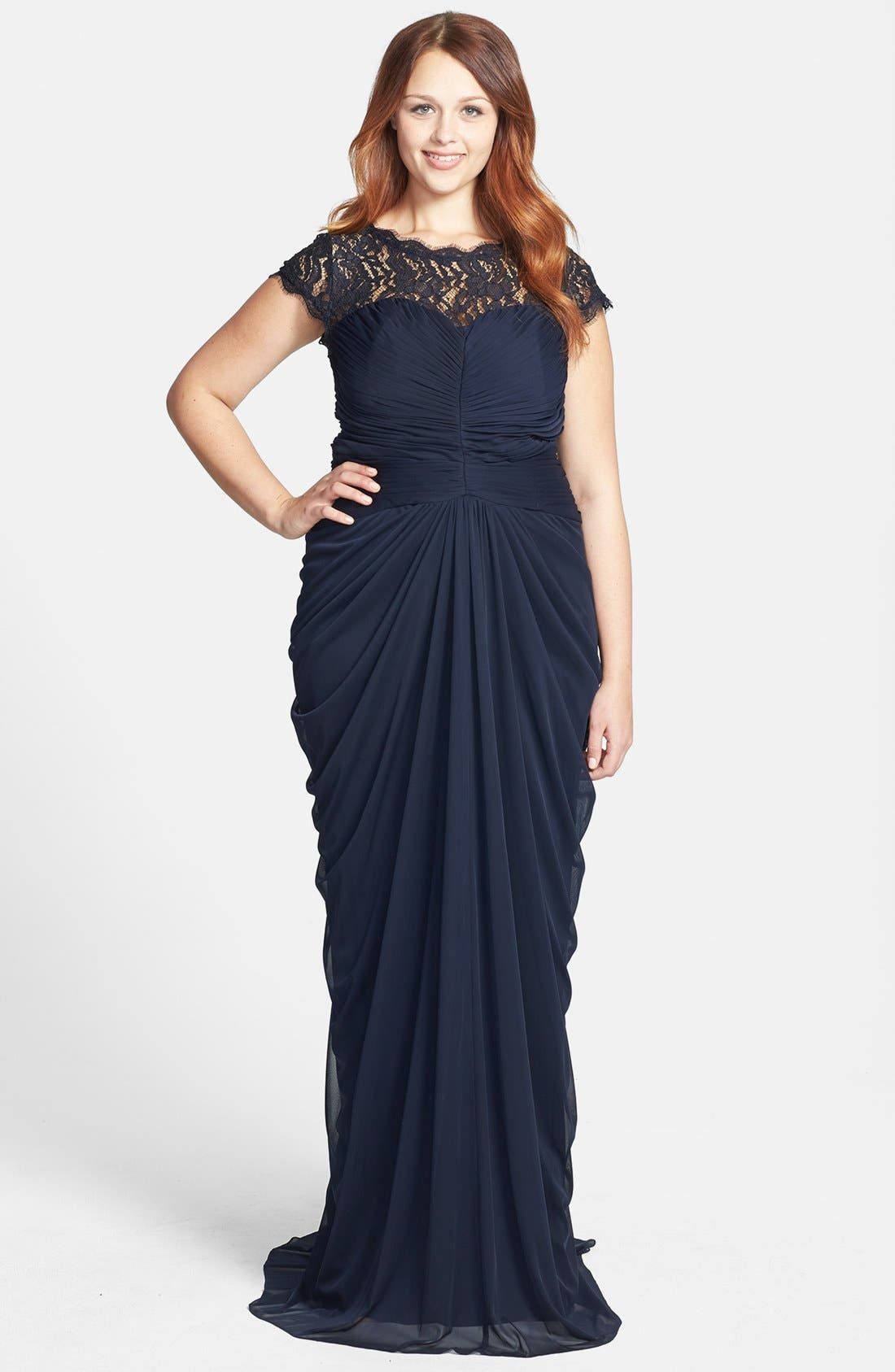 Main Image - Adrianna Papell Lace Yoke Drape Mesh Gown
