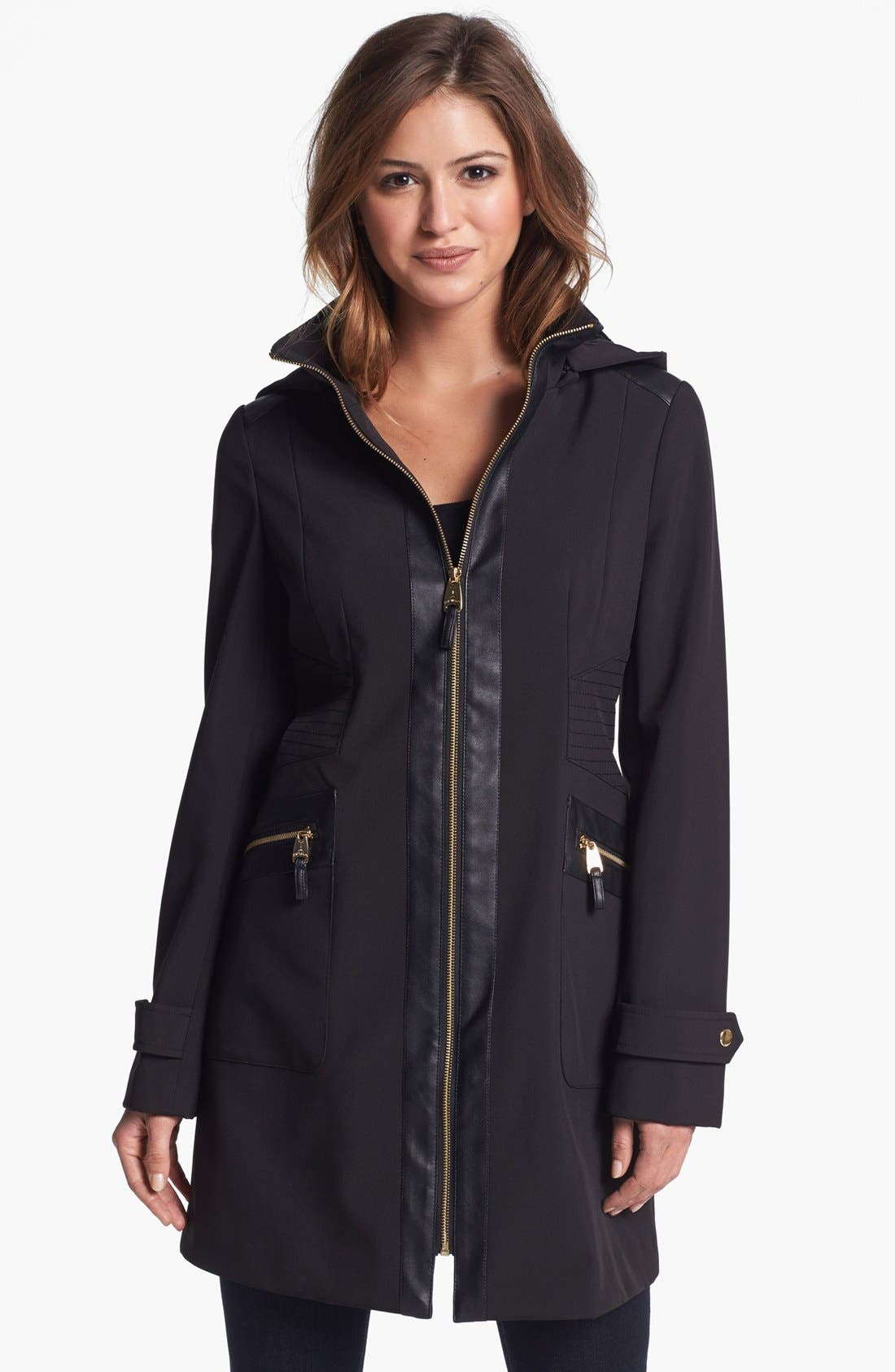 Main Image - Via Spiga Faux Leather Trim Soft Shell Coat (Regular & Petite) (Online Only)