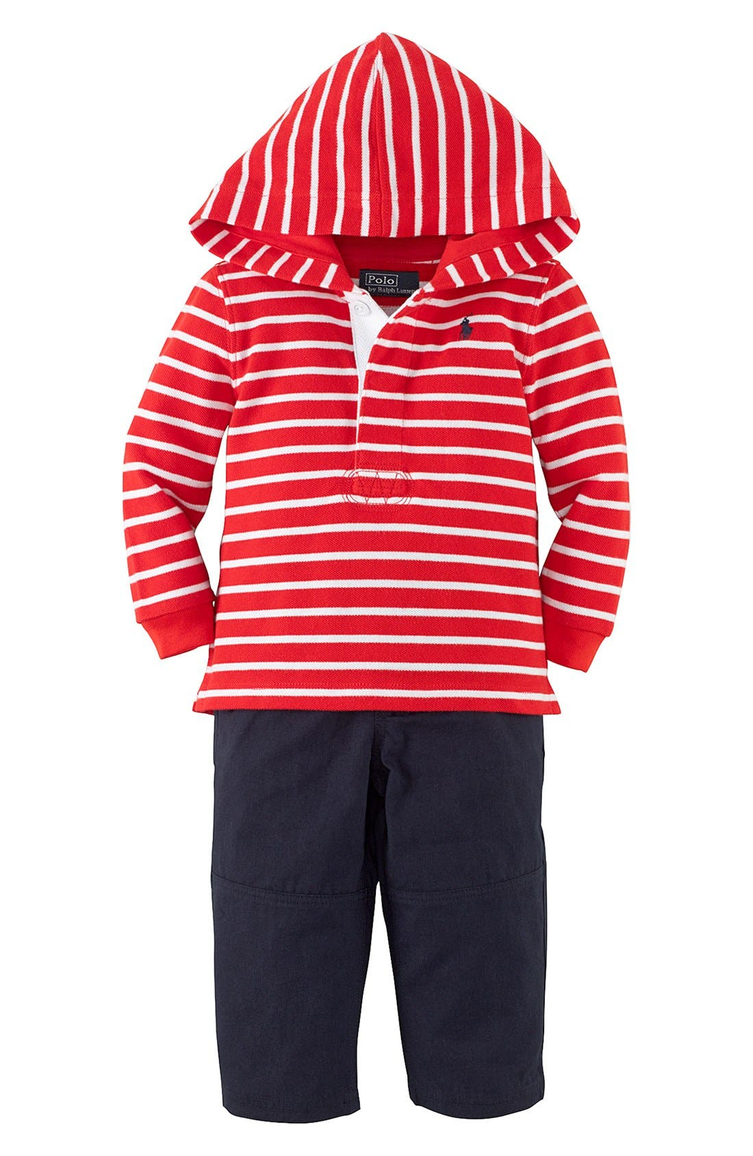 Alternate Image 1 Selected - Ralph Lauren Hooded T-Shirt & Woven Pants (Baby Boys)