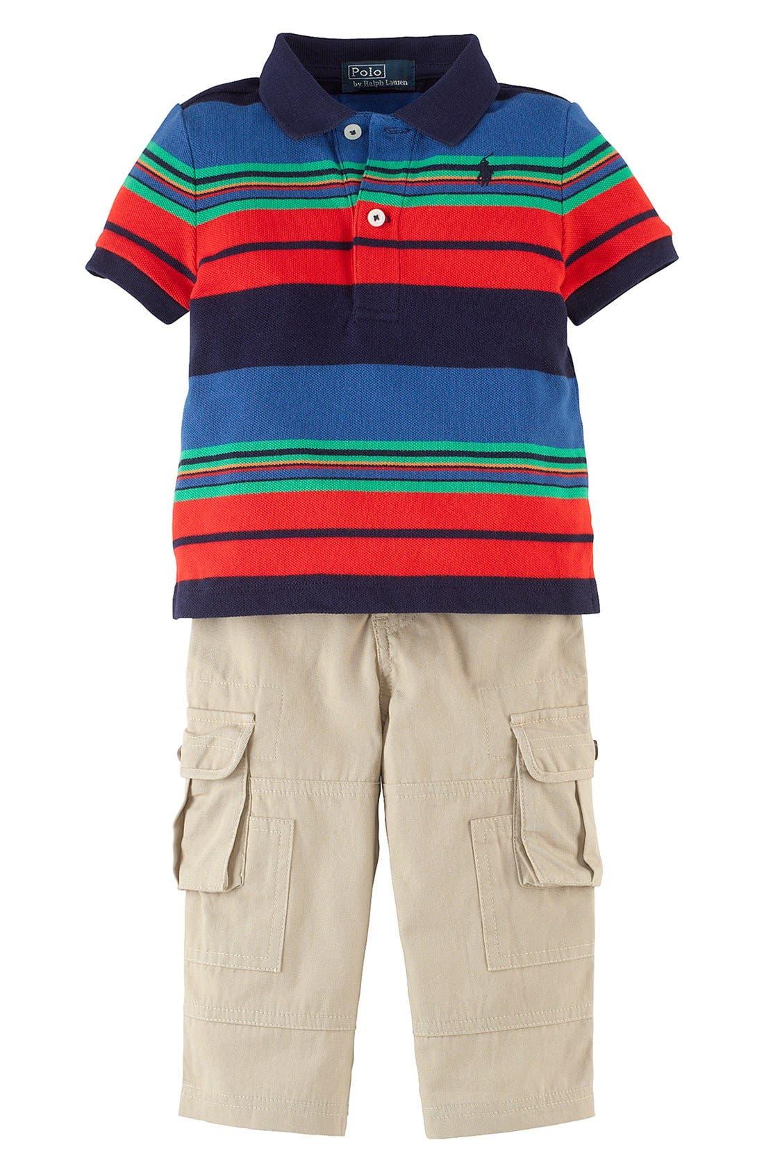 Alternate Image 1 Selected - Ralph Lauren Stripe Polo & Cargo Pants (Baby Boys)