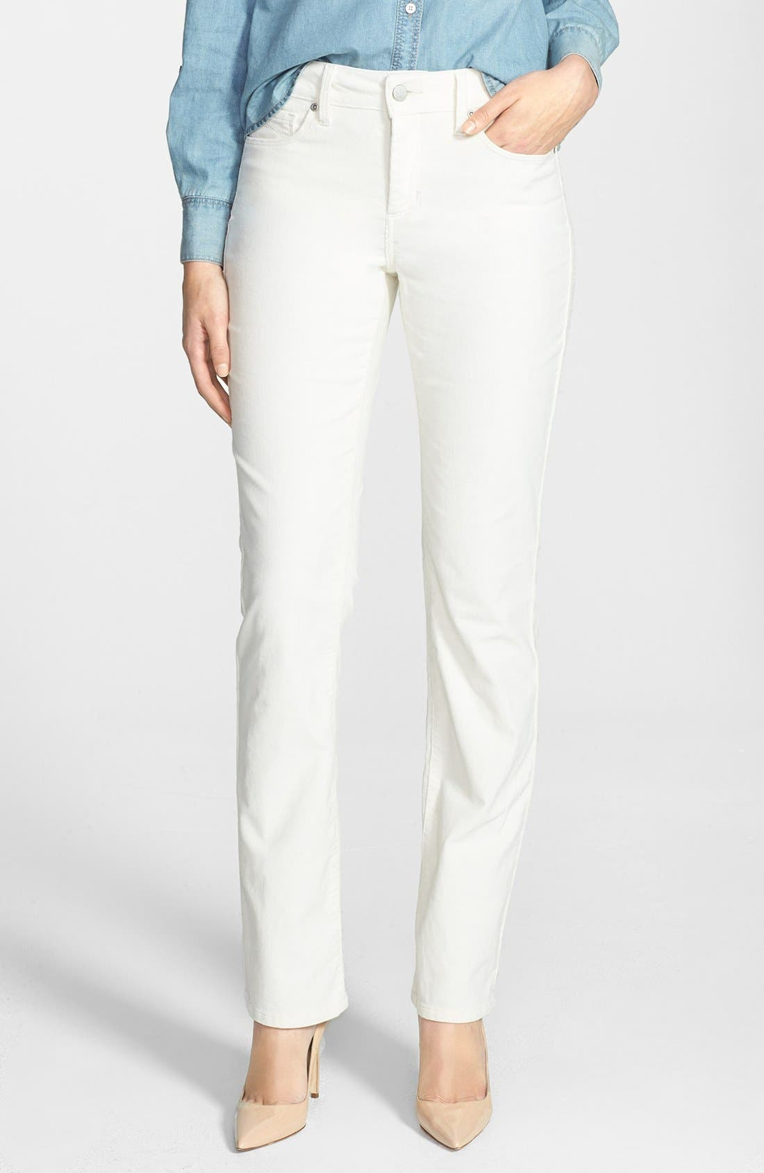 Alternate Image 1 Selected - NYDJ 'Marilyn' Colored Stretch Corduroy Straight Leg Pants (Petite)