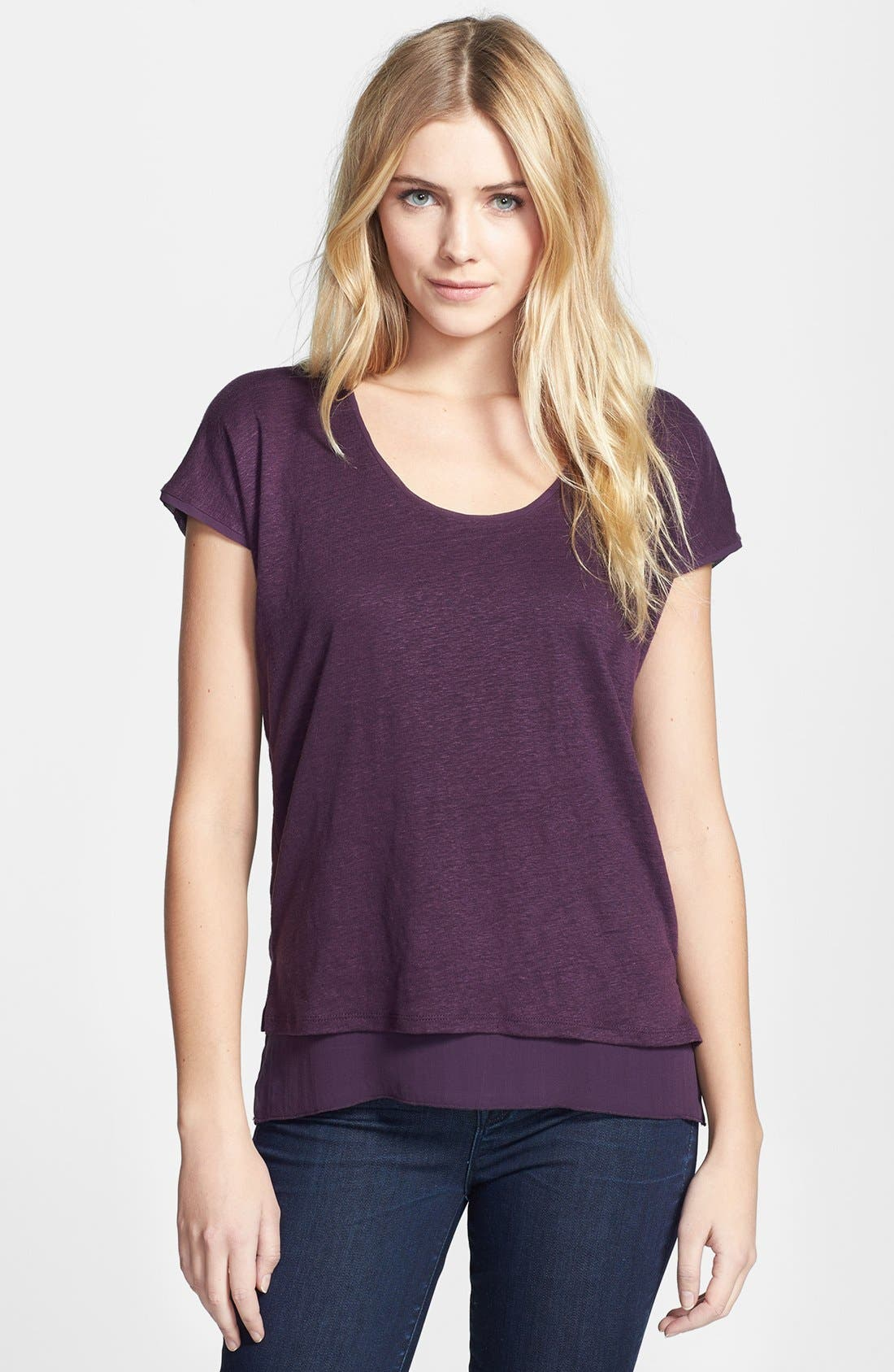 Alternate Image 1 Selected - Vince Double Layer Cap Sleeve Tee