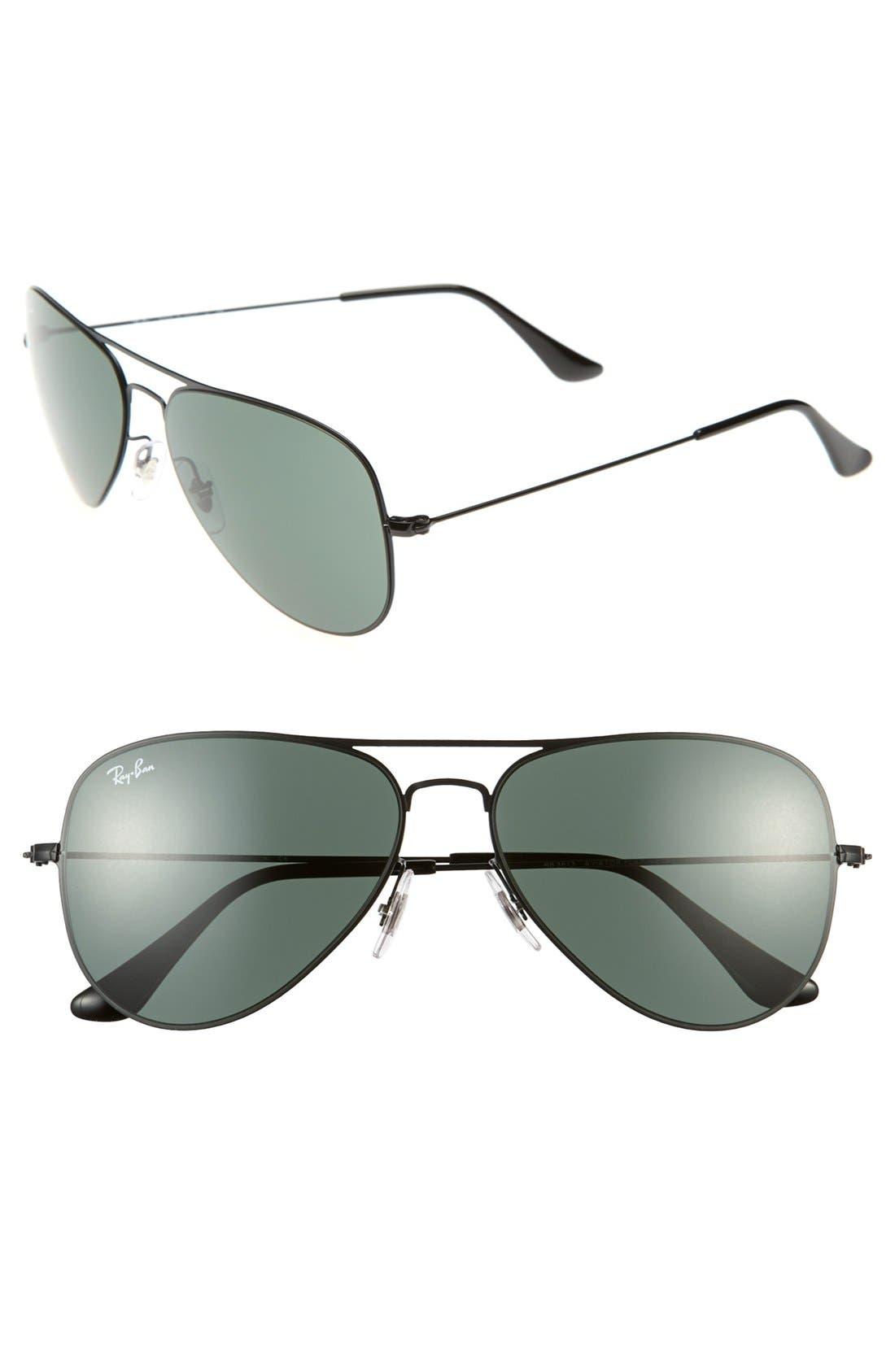 Alternate Image 1 Selected - Ray-Ban 'Aviator Flat Metal' 58mm Sunglasses