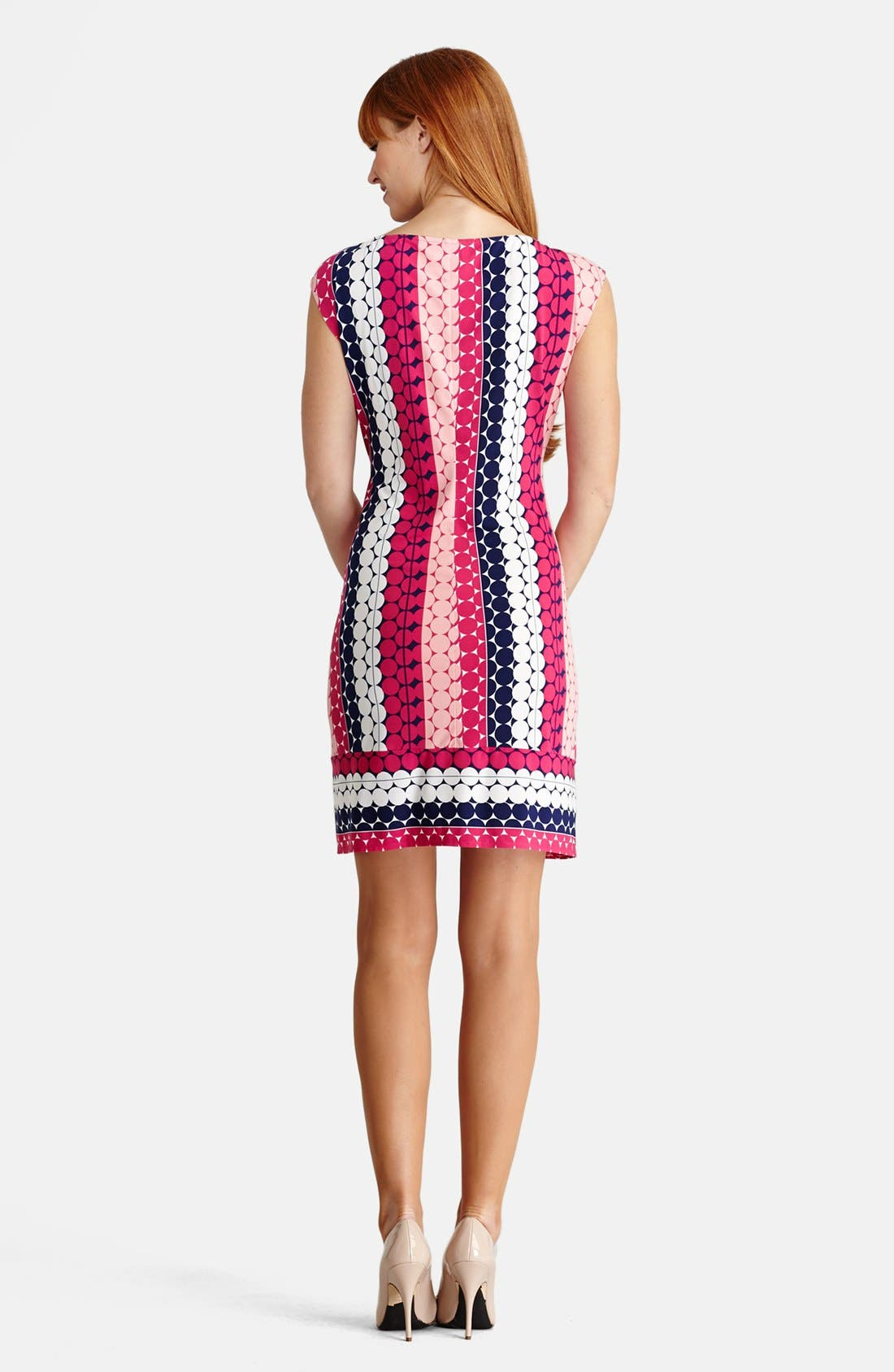 Alternate Image 2  - Donna Morgan Print Cap Sleeve Jersey Shift Dress