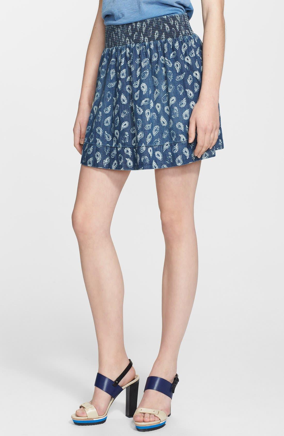 Main Image - Current/Elliott 'The Easy Mini' Paisley Denim Skirt