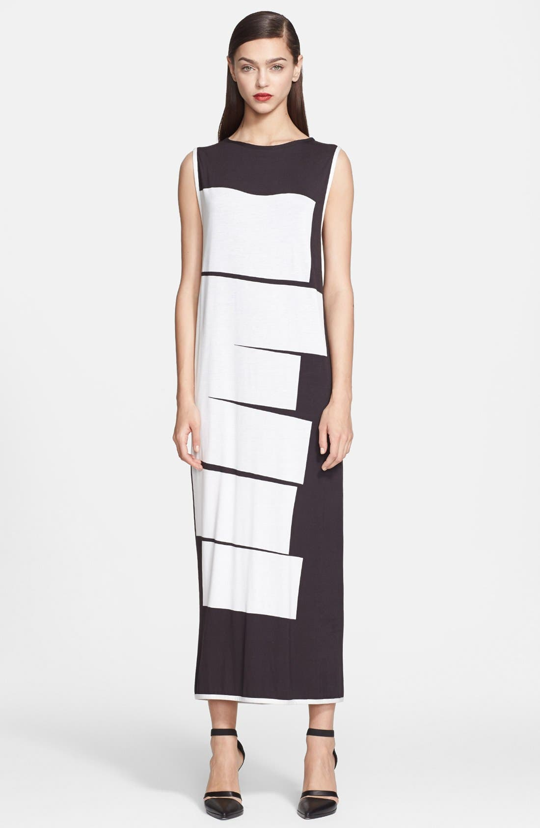 Alternate Image 1 Selected - Helmut Lang Lithograph Print Jersey Maxi Dress