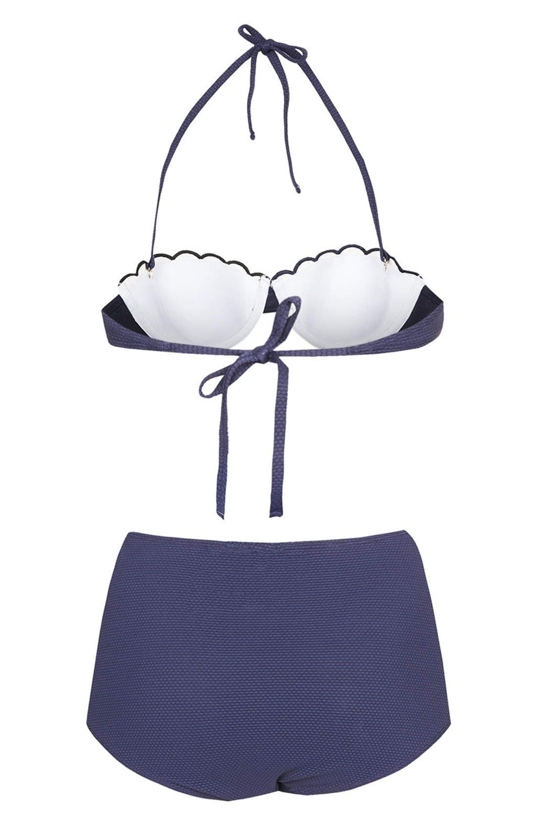 Alternate Image 2  - Topshop Scalloped Colorblock High Rise Bikini