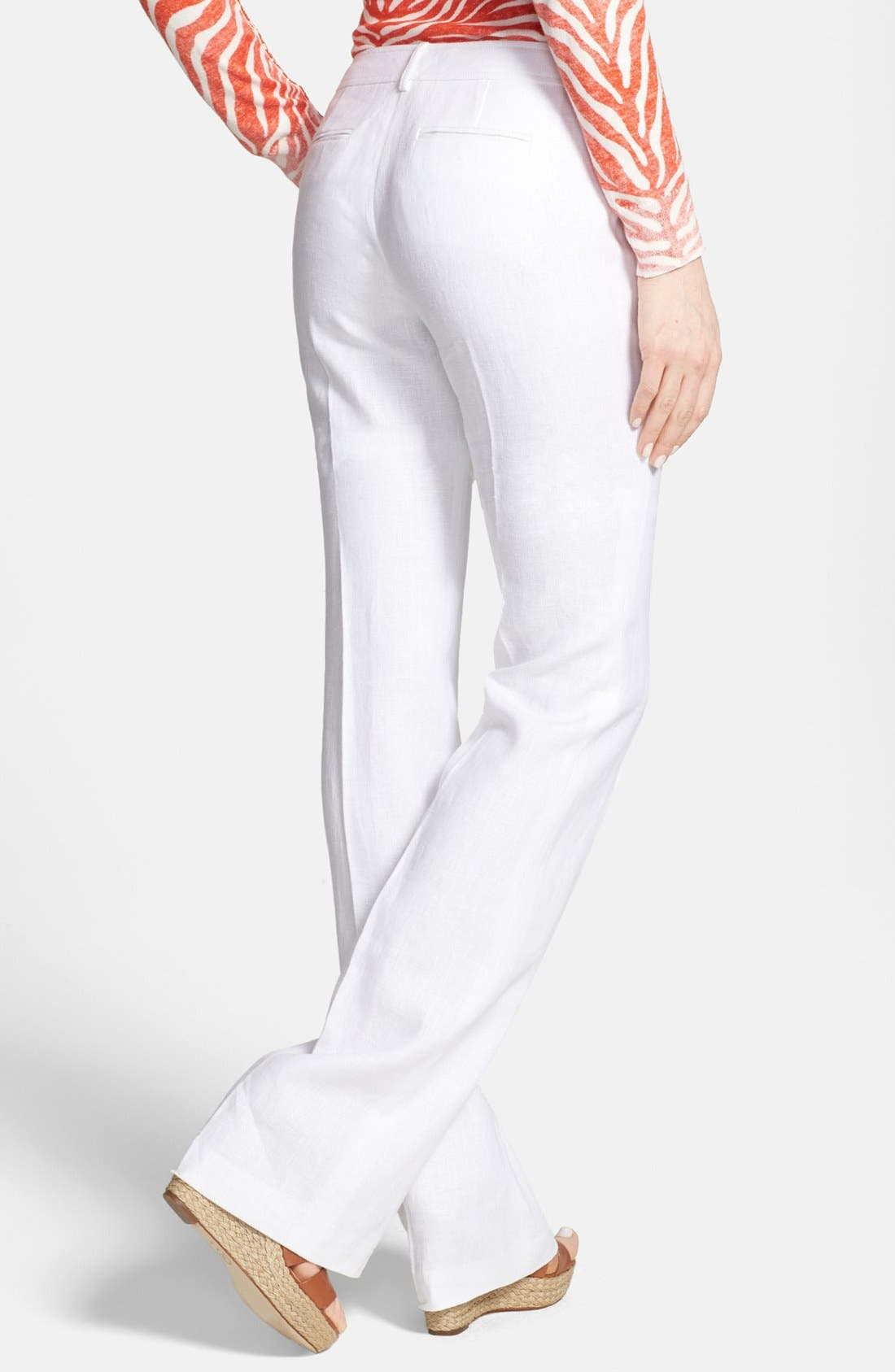 Alternate Image 2  - MICHAEL Michael Kors Flare Leg Stretch Linen Trousers