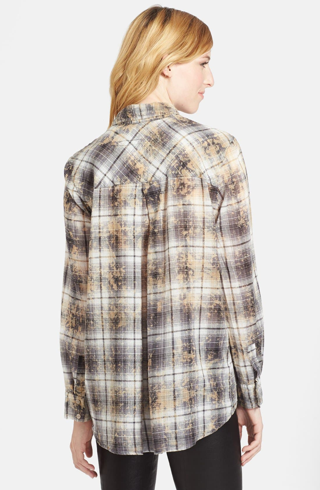 Alternate Image 2  - Enza Costa Plaid High/Low Cotton Shirt