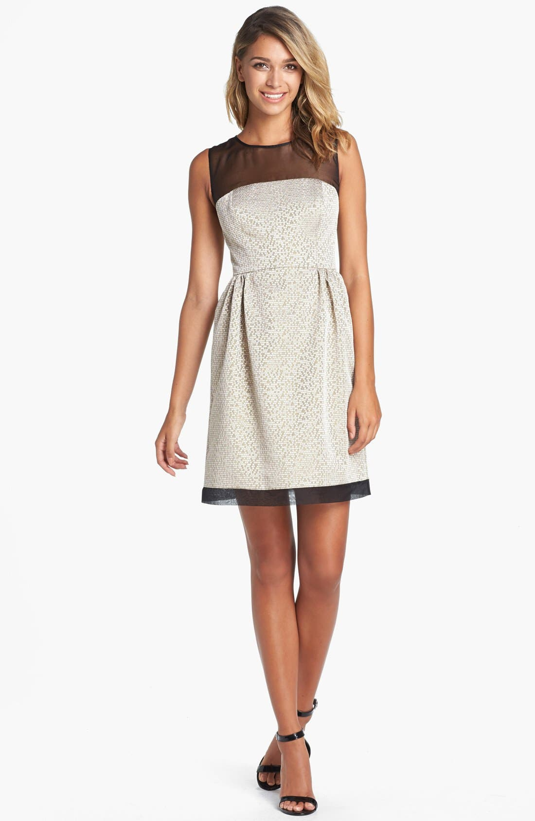 Alternate Image 1 Selected - Ivy & Blu Jacquard Fit & Flare Dress (Petite)