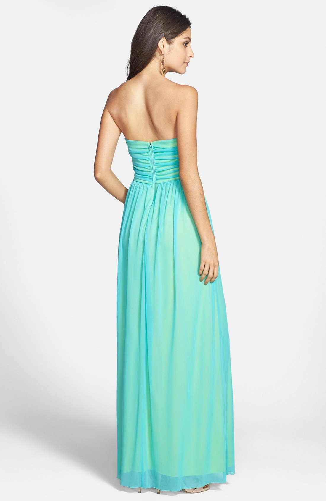 Alternate Image 2  - Way-In Beaded Strapless Mesh Gown (Juniors)