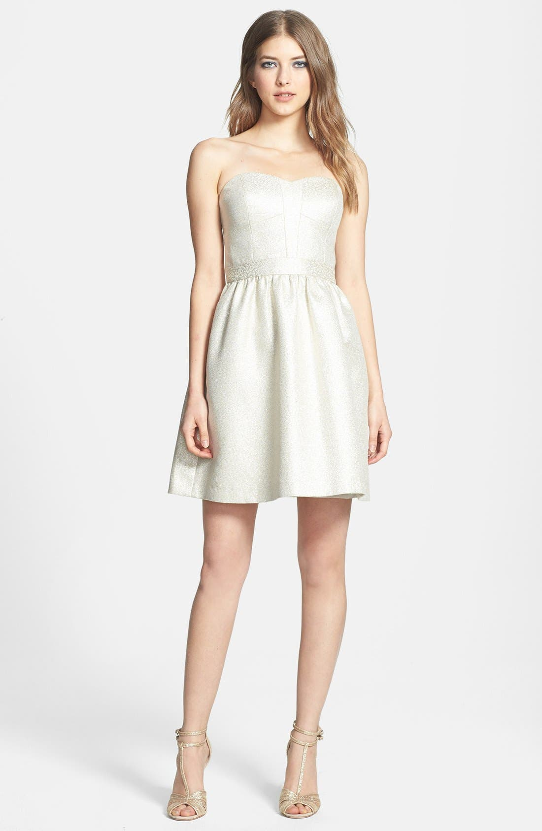 Alternate Image 3  - Aidan by Aidan Mattox Strapless Shimmer Jacquard Dress