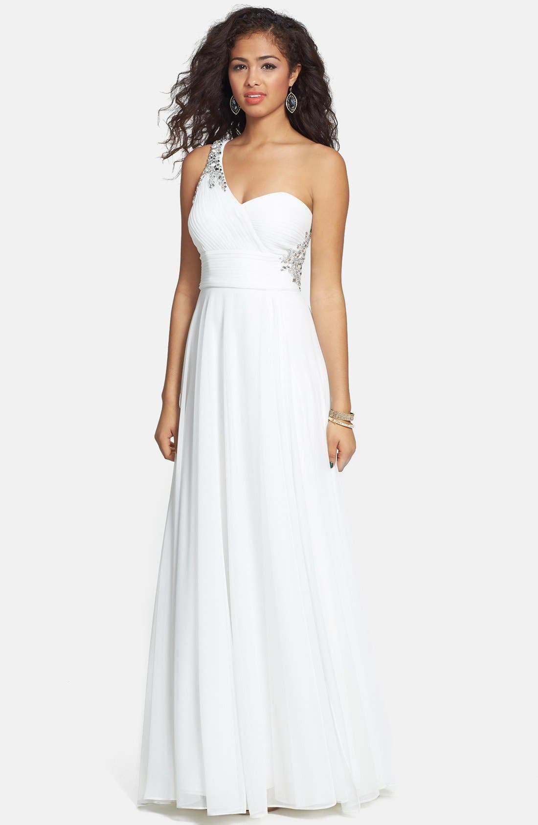 Alternate Image 1 Selected - Xscape Embellished One Shoulder Jersey Gown