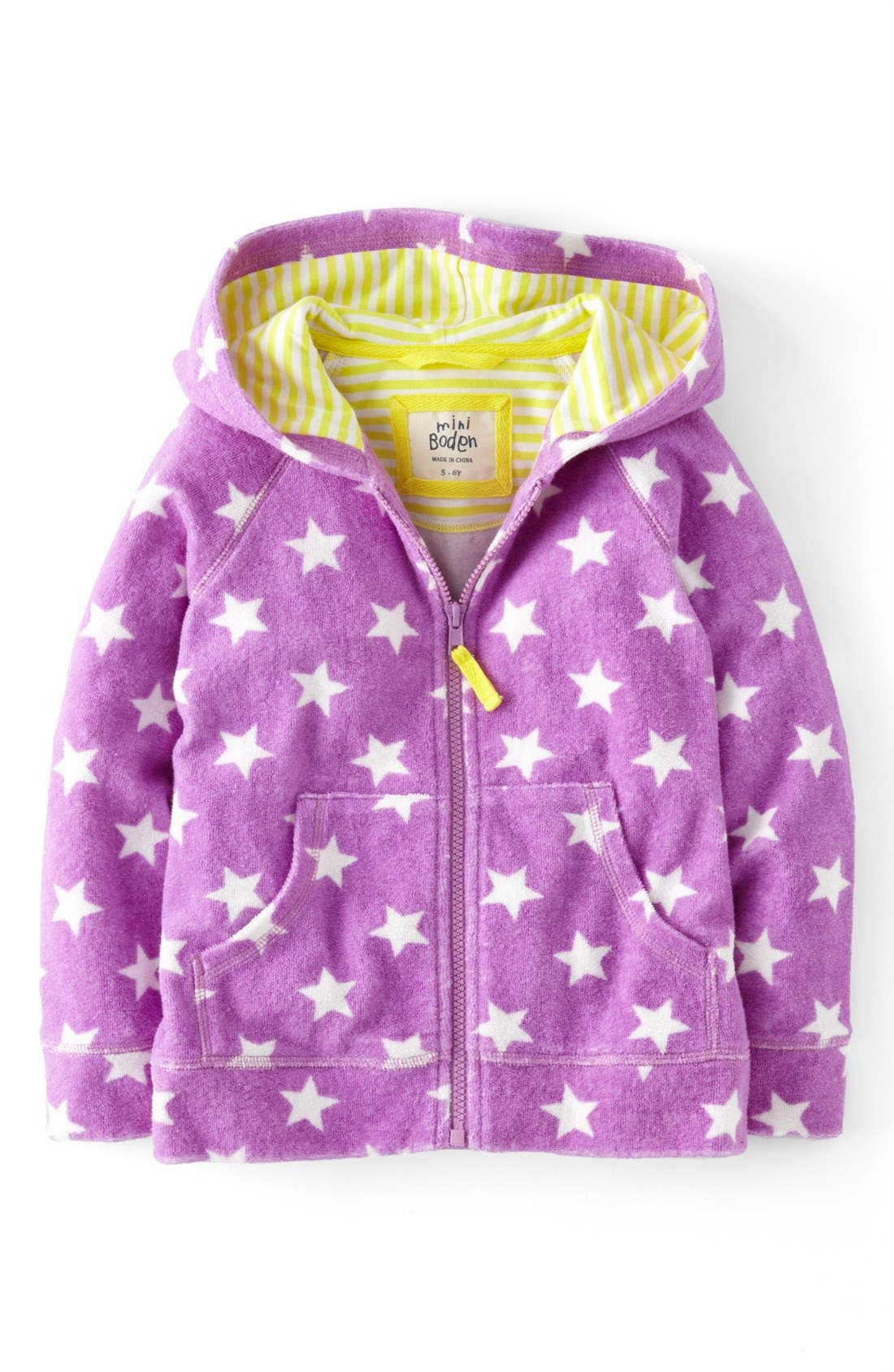 Main Image - Mini Boden 'Towelling' Hoodie (Toddler Girls, Little Girls & Big Girls)(Online Only)