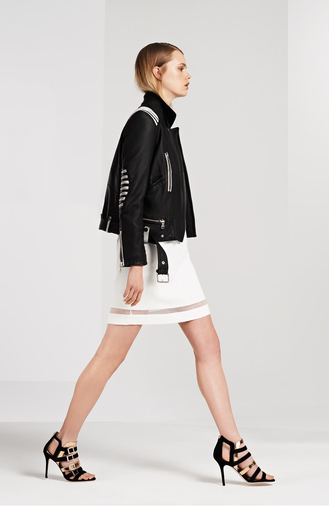 Main Image - The Kooples Crepe Dress & Leather Jacket