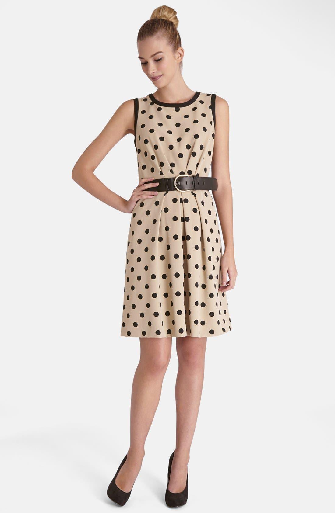 Alternate Image 2  - Tahari Polka Dot Crepe Fit & Flare Dress (Regular & Petite)