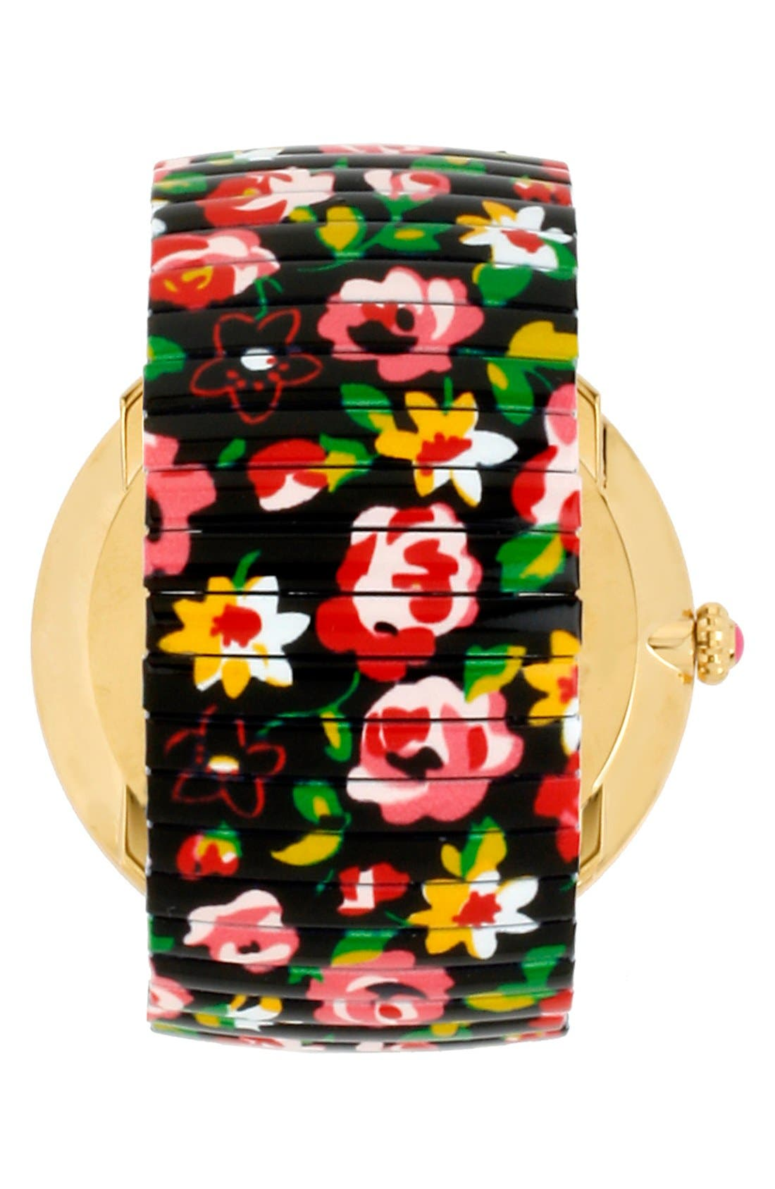 Alternate Image 2  - Betsey Johnson Round Floral Expansion Watch, 48mm
