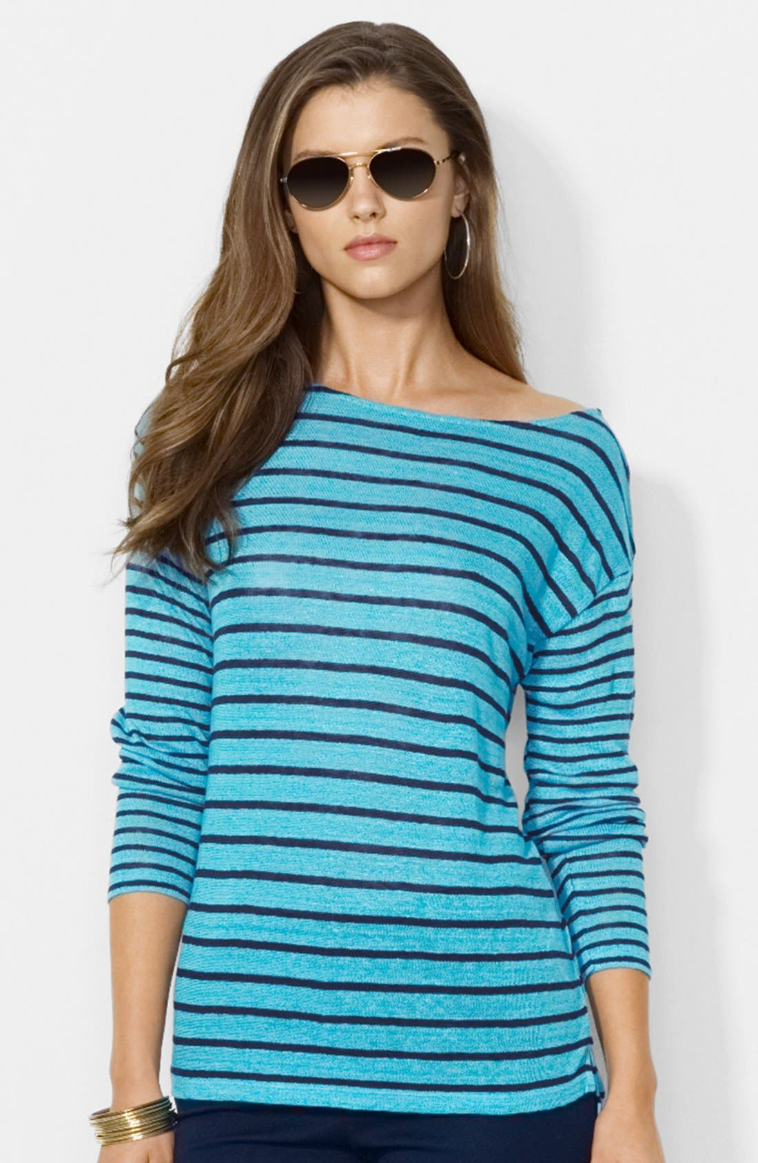 Main Image - Lauren Ralph Lauren Boat Neck Stripe Linen Knit Top