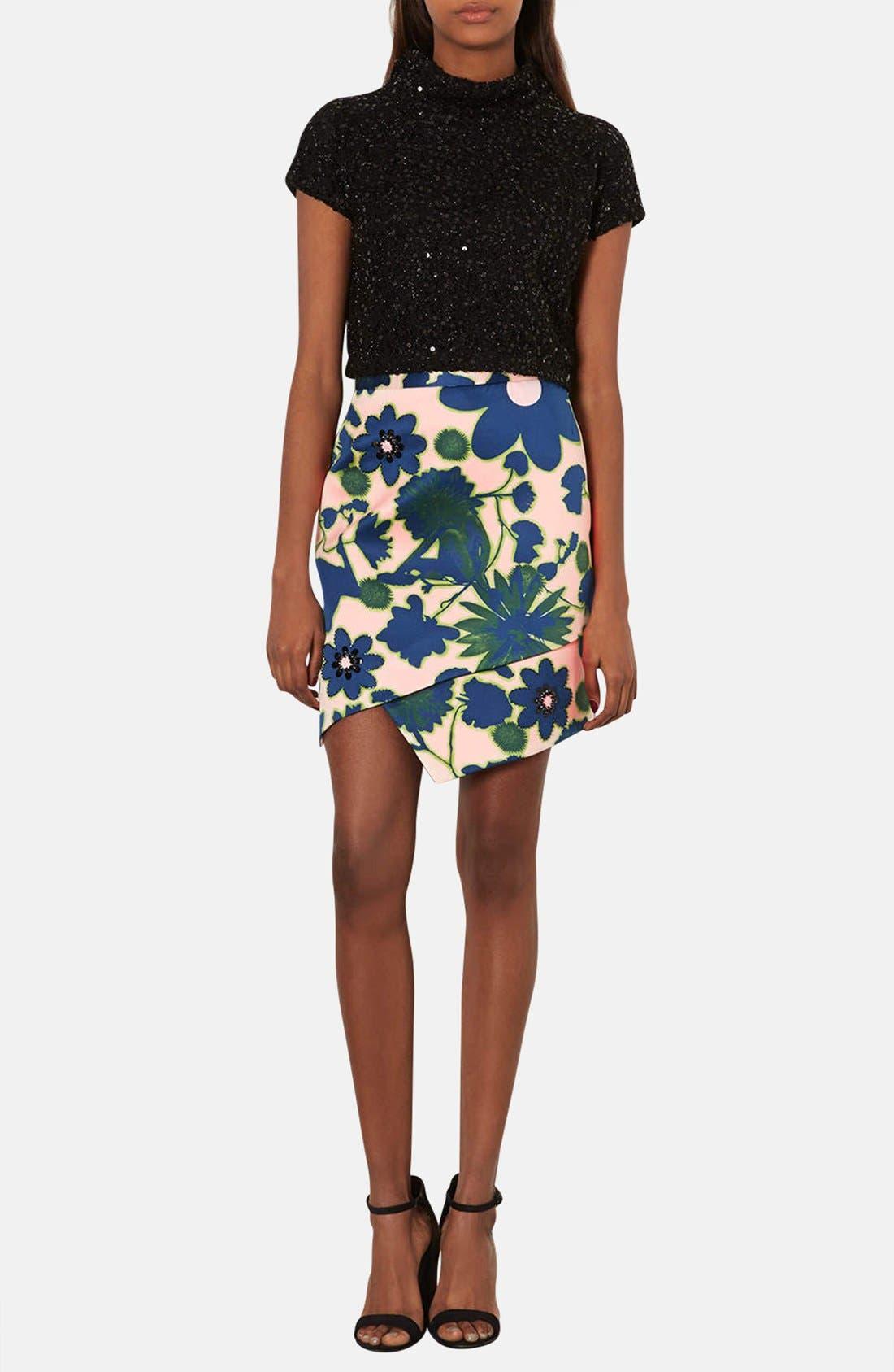 Alternate Image 4  - Topshop 'Floral X-Ray' Embellished Print Skirt