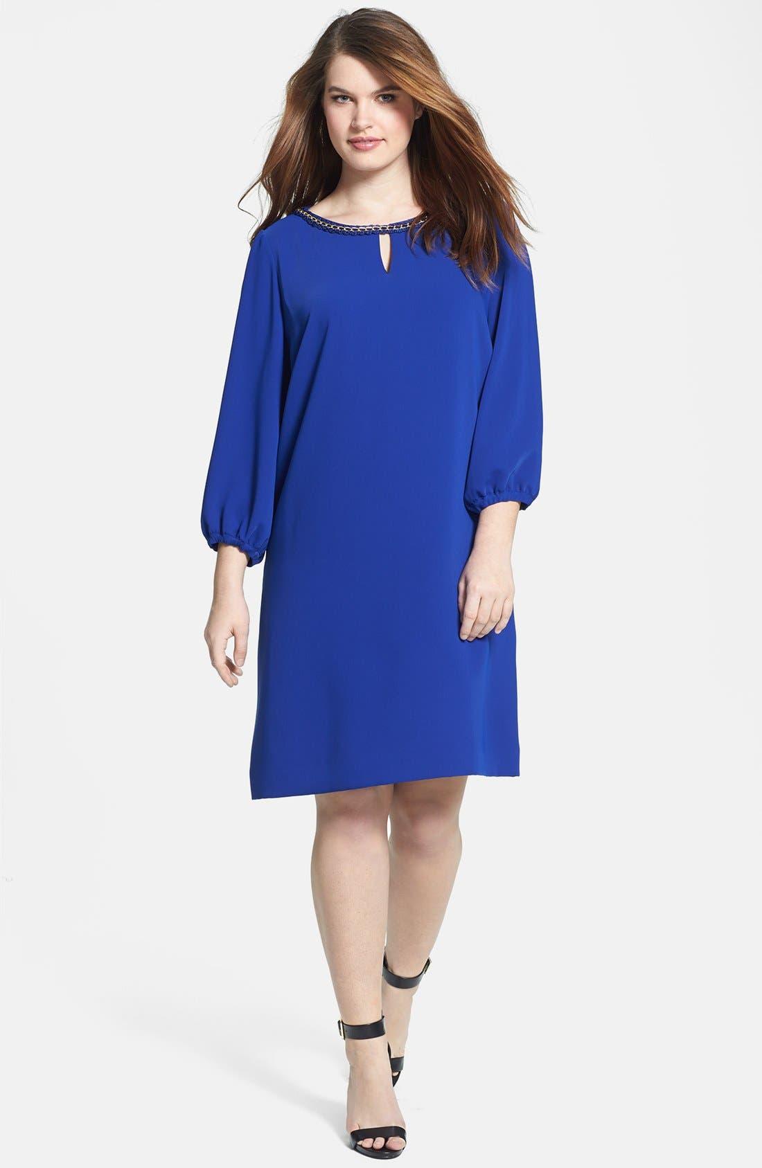 Main Image - Tahari Chain Detail Shift Dress (Plus Size)