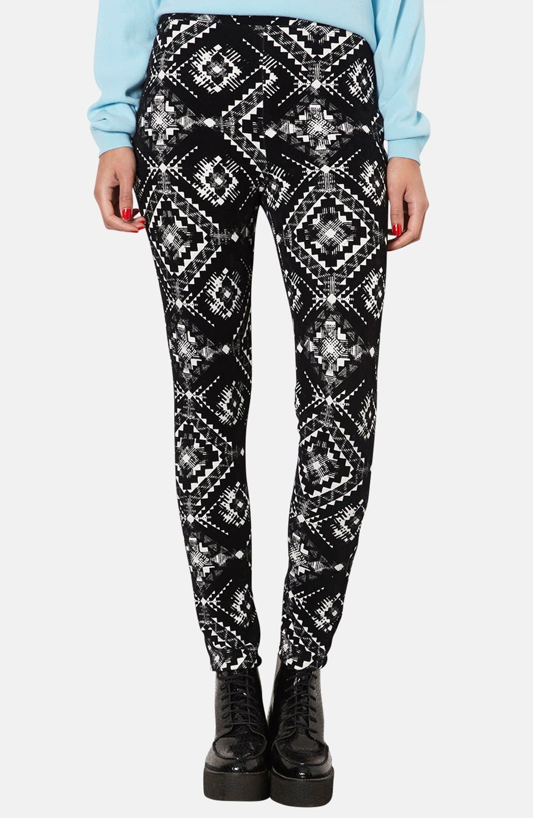Main Image - Topshop Flocked Folk Print Leggings