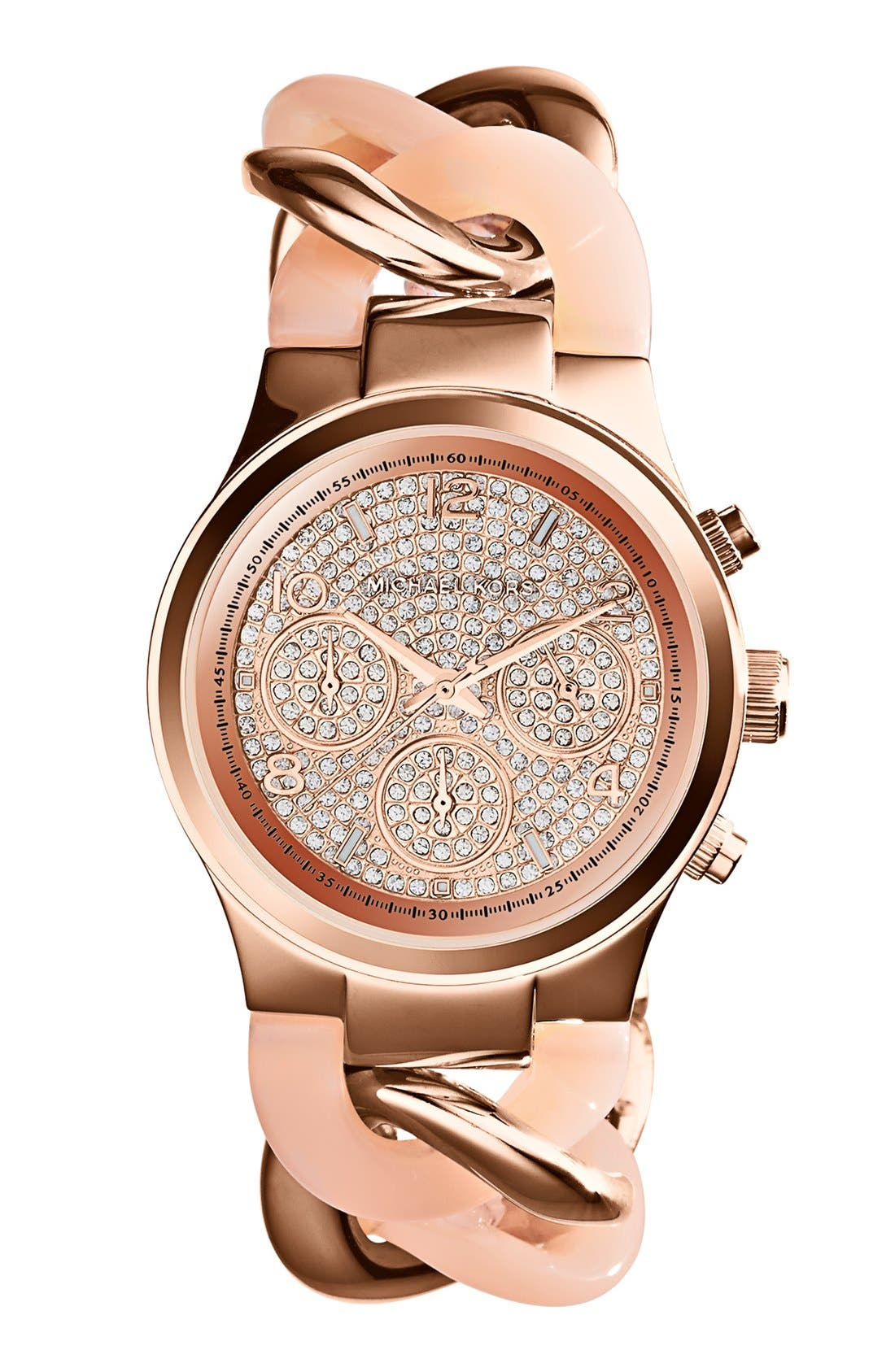 Main Image - Michael Kors 'Runway' Pavé Dial Chronograph Link Bracelet Watch, 38mm