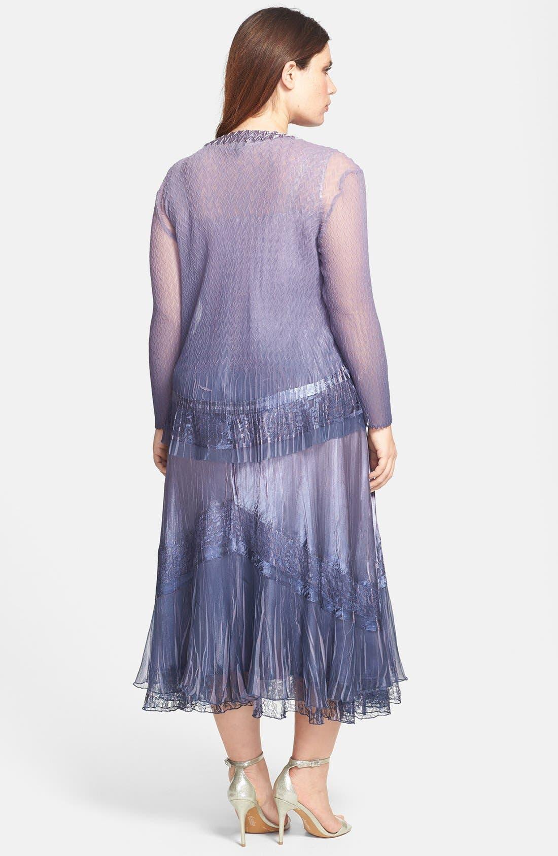 Alternate Image 2  - Komarov Embellished Mixed Media Dress & Jacket (Plus Size)