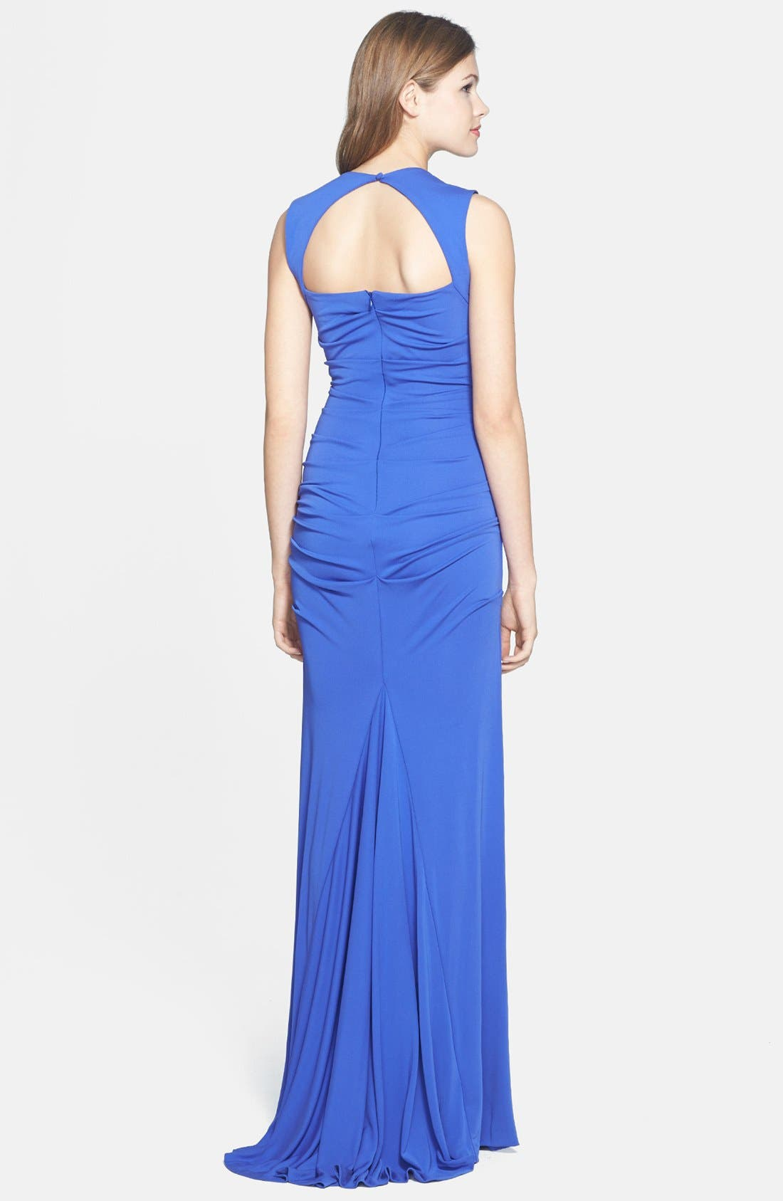 Alternate Image 2  - Nicole Miller Ruched Matte Jersey Gown