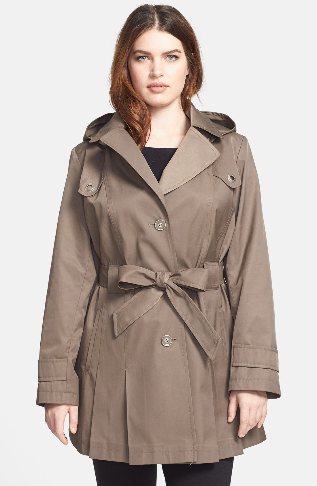 Main Image - Via Spiga 'Scarpa' Single Breasted Hooded Trench (Plus Size)