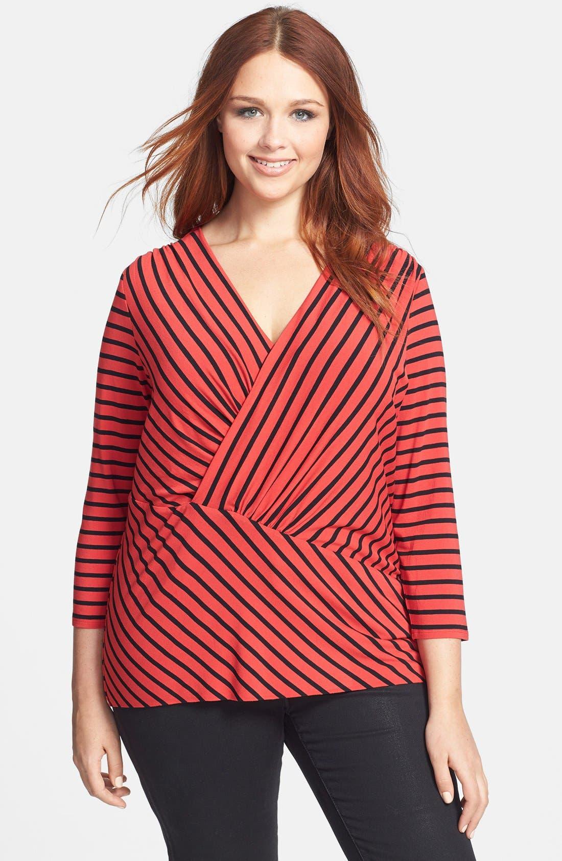 Alternate Image 1 Selected - Vince Camuto 'Retro Stripes' Asymmetrical Tunic (Plus Size)