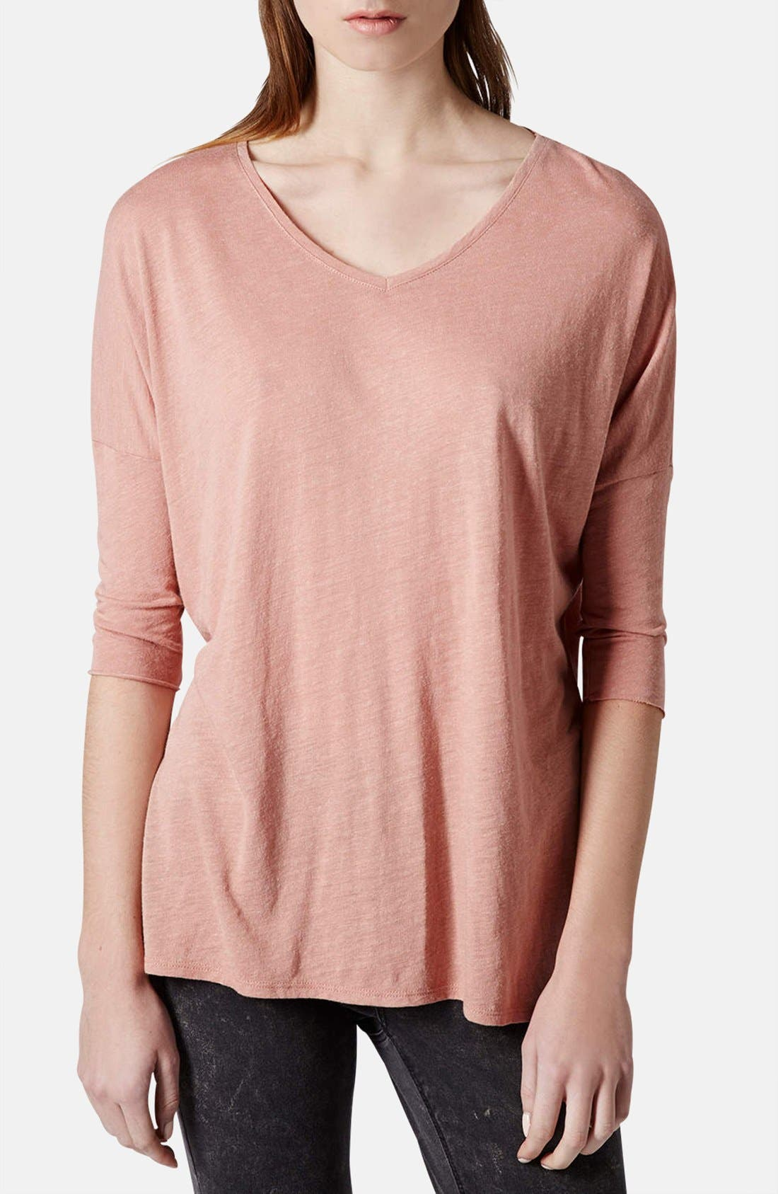 Alternate Image 1 Selected - Topshop Textured V-Neck Tunic Top (Petite)