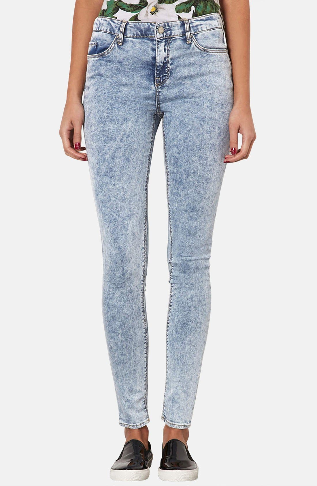Main Image - Topshop Moto 'Leigh' Acid Wash Skinny Jeans (Mid Stone) (Regular & Short)