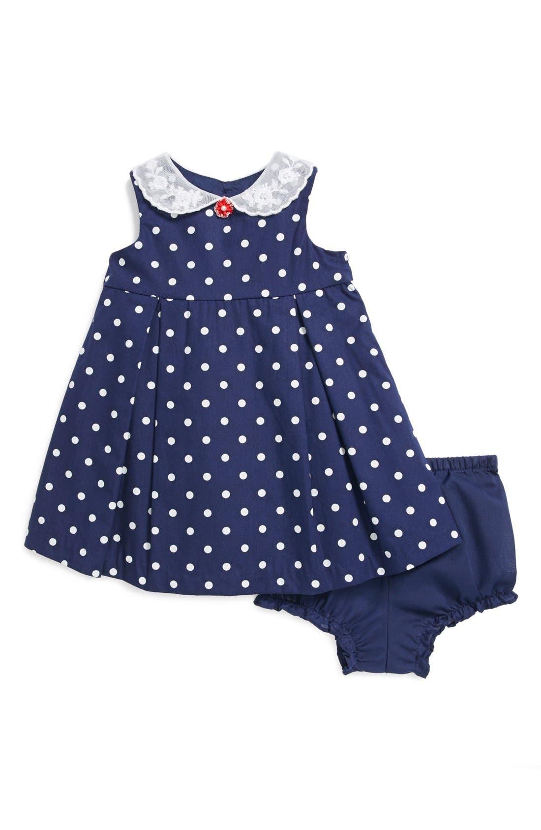 Main Image - Pippa & Julie Polka Dot Dress & Bloomers (Baby Girls)