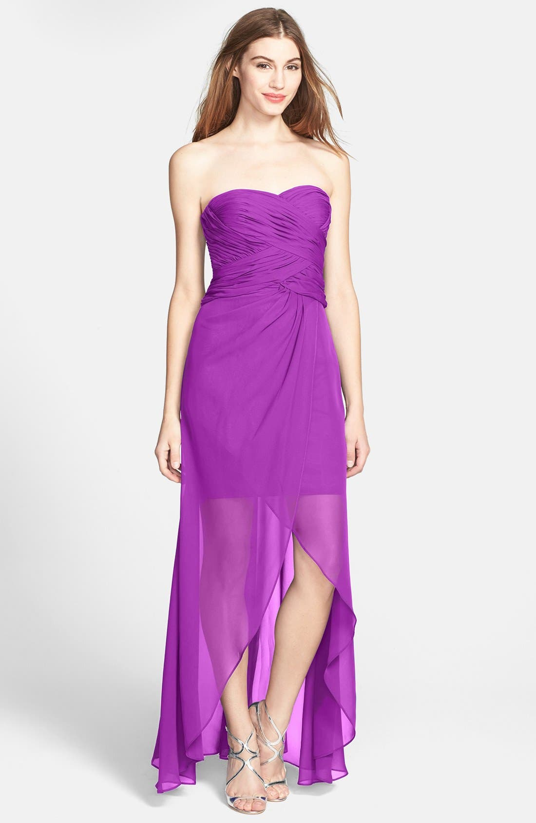 Main Image - Hailey by Adrianna Papell Shirred High/Low Chiffon Dress
