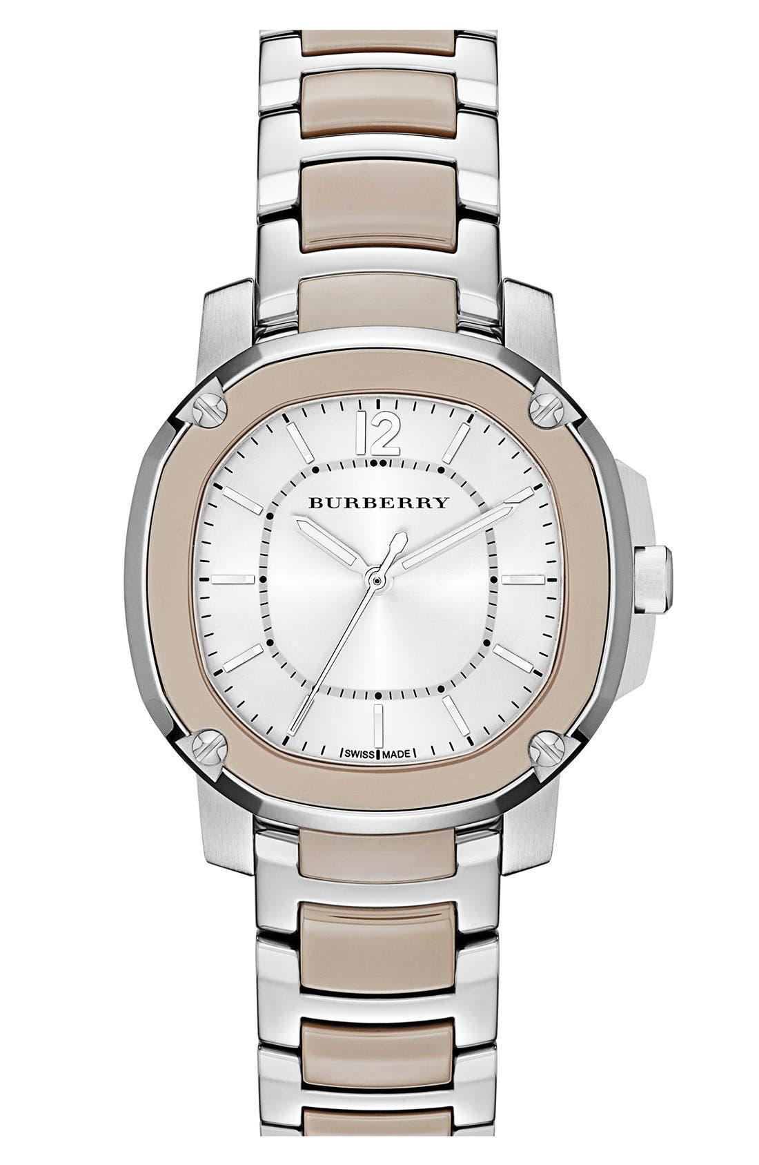 Main Image - Burberry The Britain Ceramic Link Bracelet Watch, 34mm
