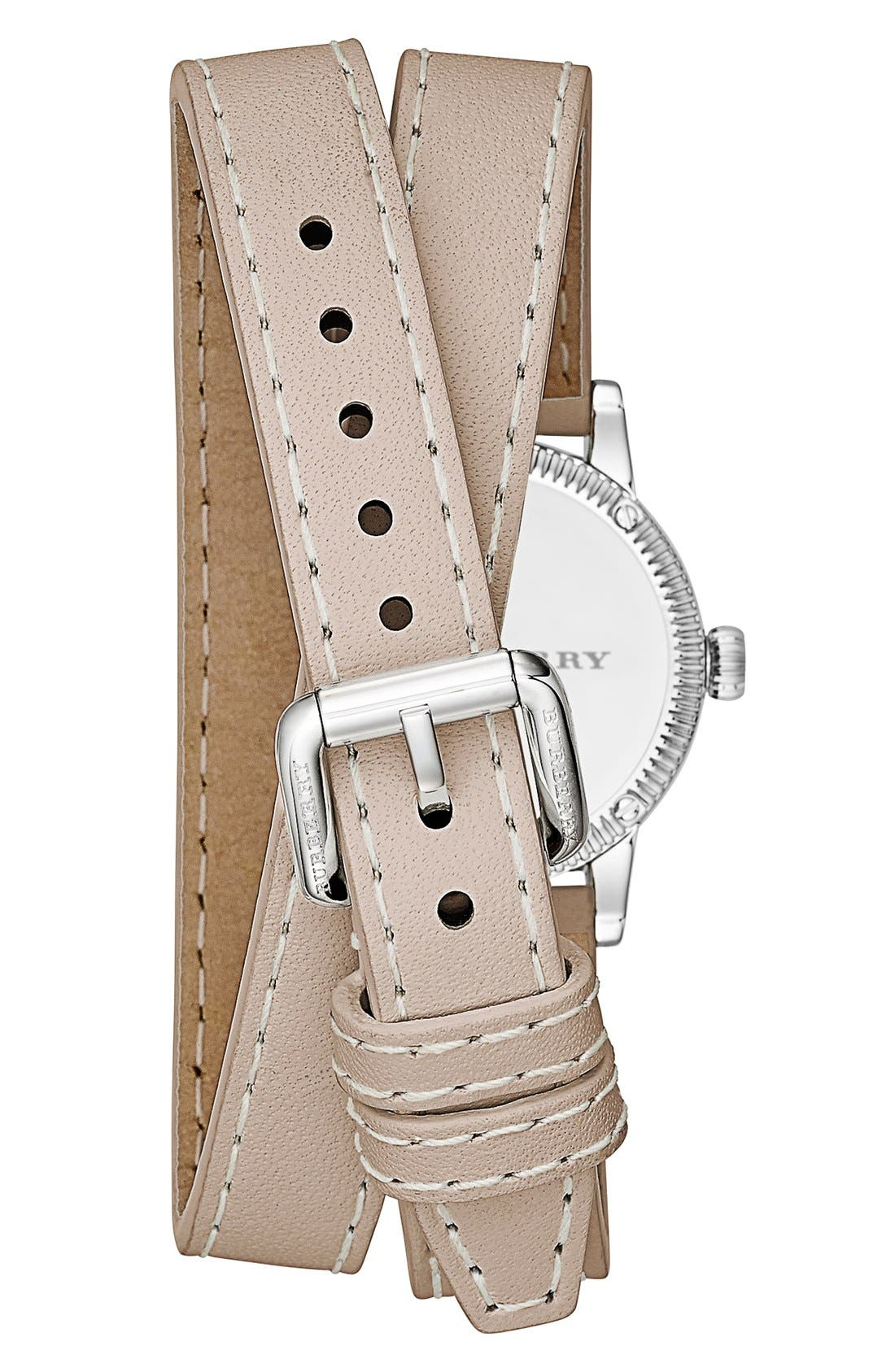 Alternate Image 2  - Burberry 'Utilitarian' Round Leather Wrap Watch, 30mm