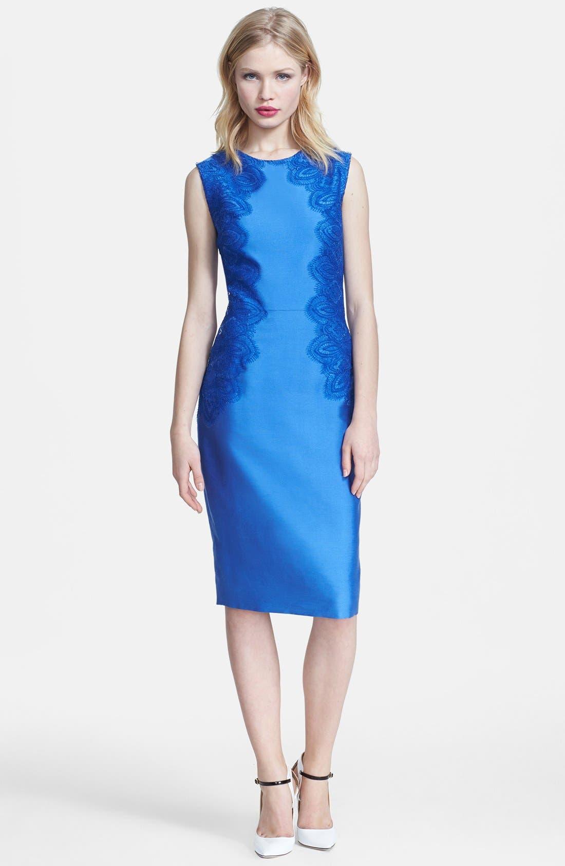 Alternate Image 1 Selected - Lela Rose Lace Panel Sheath Dress