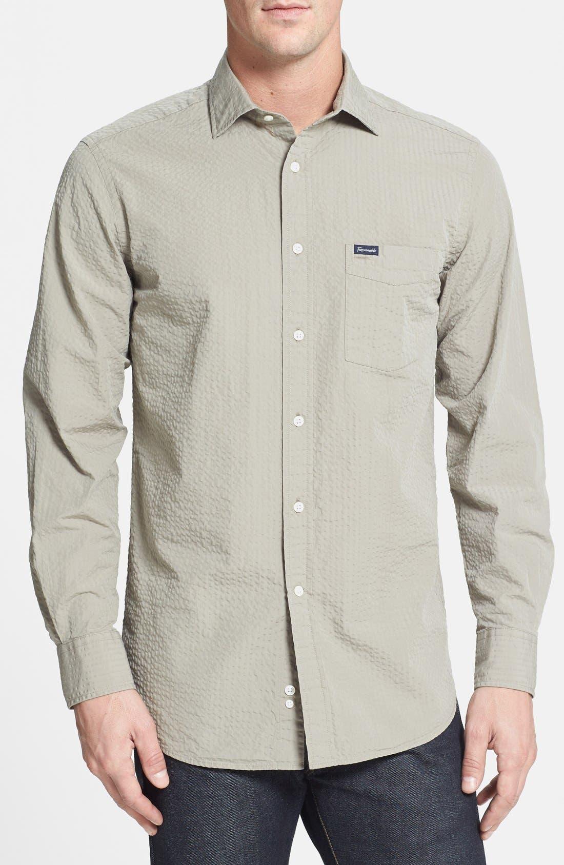 Alternate Image 1 Selected - Façonnable Classique Fit Seersucker Sport Shirt