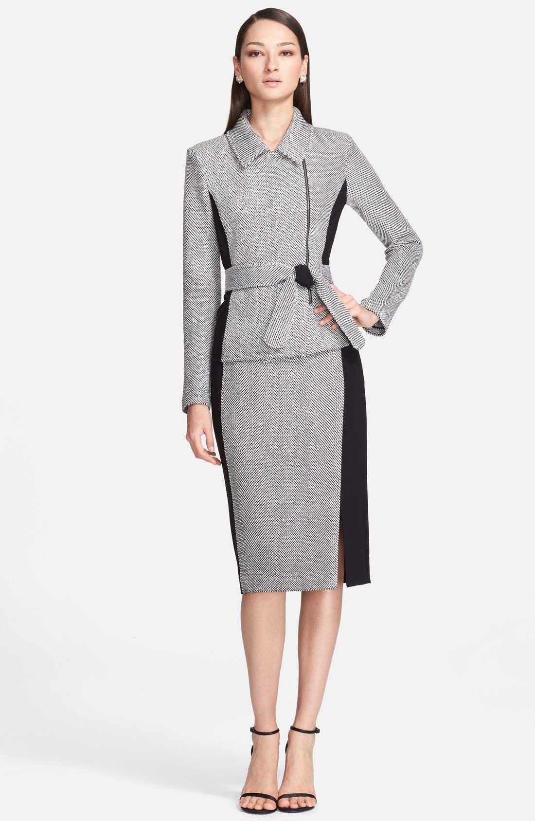 Alternate Image 2  - St. John Collection Bird's Eye Tweed & Crepe Marocain Skirt