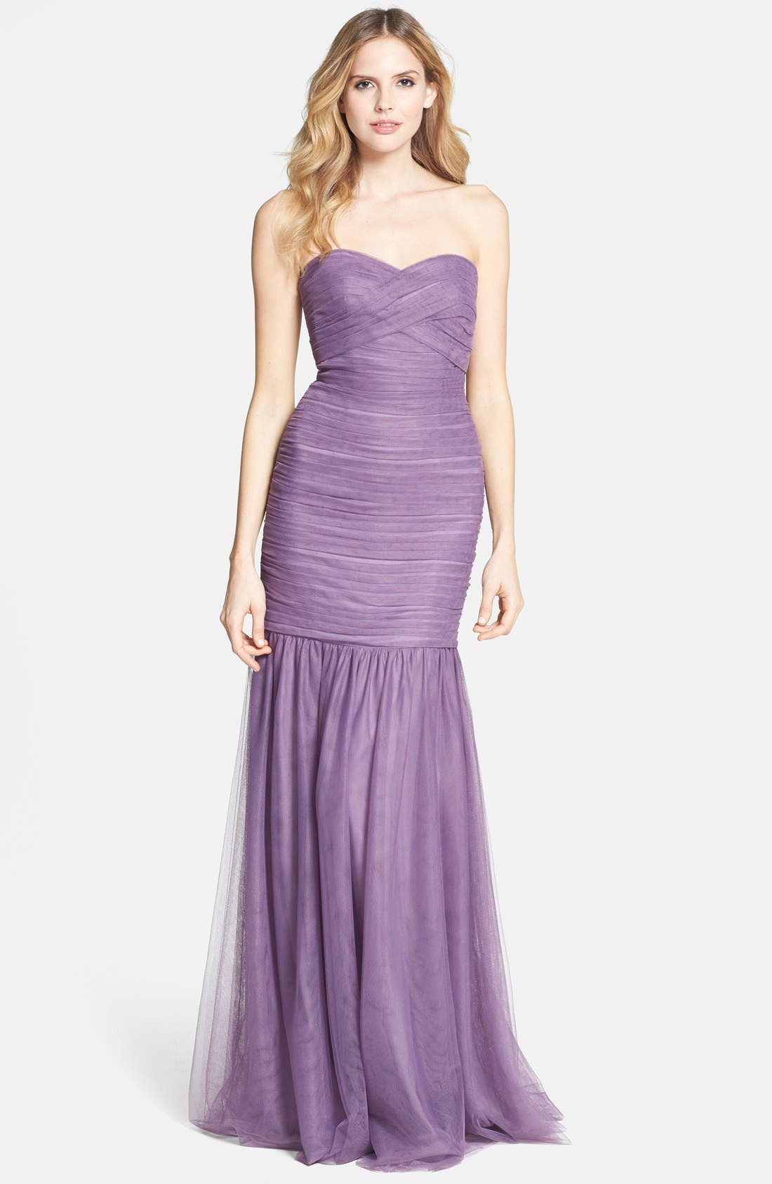 Main Image - Monique Lhuillier Bridesmaids Shirred Tulle Gown