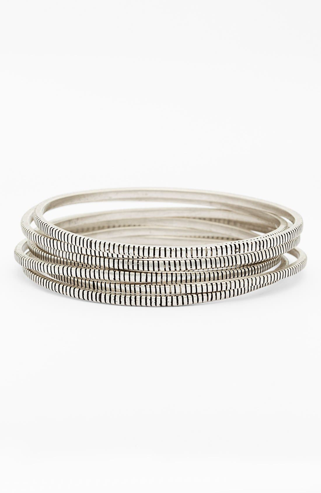 Alternate Image 1 Selected - Rebecca Minkoff 'Jewel Box' Etched Bangles (Set of 7)