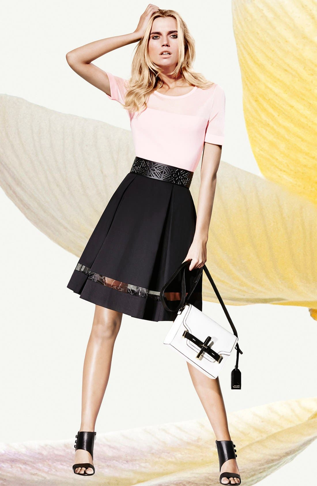 Alternate Image 6  - Vince Camuto Sheer Inset Pleated Skirt